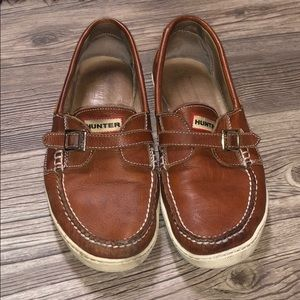 Hunter Leather Boat Shoes 🌧